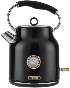 Tower Bottega Rapid Boil Traditional Kettle with Temperature Dial, Boil Dry Protection, Automatic Shut Off, Black and Rose Gold - iBuy Africa