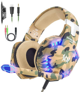 VersionTECH. Gaming headset for PS4 Xbox One X S PC Headphones with Microphone USB LED Light Noise Cancellation Mic Compatible with Nintendo Switch Controller Games Gamer Accessories Mac(Camouflage) Yellow Camo - iBuy Africa