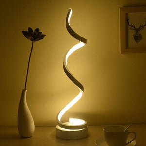 Dimmable LED Bedside Table Lamp, Remote Control Spiral Table Lamps Modern Curved LED Desk Lamp, 12W Warm White Light Minimalist Night Stand Reading Light for Office, Bedroom Living Room, White - iBuy Africa