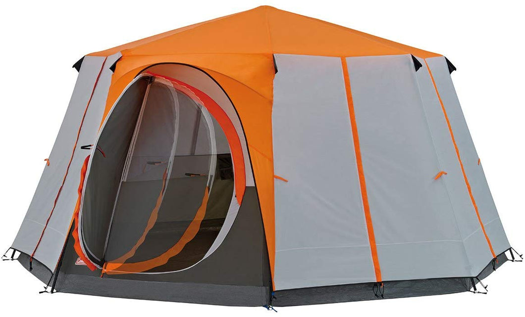 Coleman Tent Octagon, 6 to 8 Man Festival Dome Tent, Waterproof Family Camping Tent with Sewn-in Groundsheet Orange/Grey - iBuy Africa