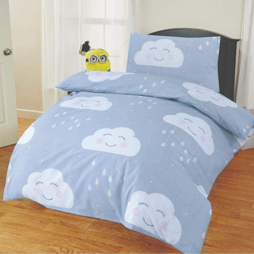 SleepyNights Junior Cot Bed Duvet Cover and Pillow Set Grey Clouds - iBuy Africa