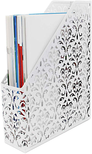EasyPAG Desktop Metal Magazine File Holder Office Desk Tidy Folder Organiser Filing Rack,Black White - iBuy Africa