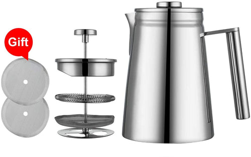 MIULY French Press Cafetière 1000ml/8 Cup Stainless Steel Espresso Coffee Maker 800ml Silver - iBuy Africa