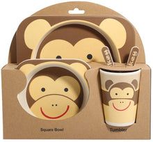 Load image into Gallery viewer, Children's 5 Pcs Bamboo Dinner Set Shopwithgreen Kids Board Food Plate Bowl Cup Spoon Fork Set Dishware Cartoon Tableware Eco Friendly, BPA Free and Dishwasher Safe Kids Healthy Mealtime(Monkey) - iBuy Africa