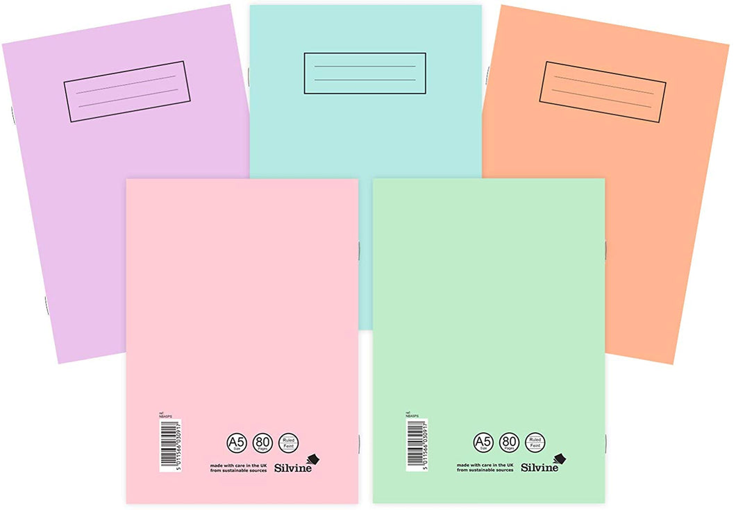 Silvine A4 Notebooks Assorted Pastel Colours (Pack of 10) A5 - iBuy Africa