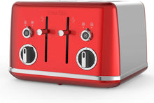 Load image into Gallery viewer, Breville Lustra 4-Slice Toaster with High Lift, Wide Slots and Independent 2-Slice Controls, Storm Grey, candy red and shimmer cream [VTT853] - iBuy Africa