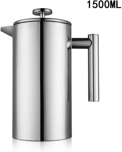 MIULY French Press Cafetière 1000ml/8 Cup Stainless Steel Espresso Coffee Maker 1500ml Silver - iBuy Africa