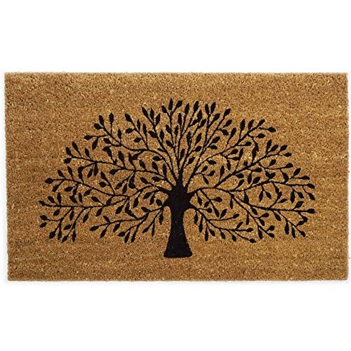 Black Ginger Large, Thick, Decorative, Patterned Coir Door Mats with Nature Designs Tree - iBuy Africa