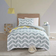 Load image into Gallery viewer, Nadia Single Size Bedding Set, Fashion Chevron Printed Duvet Cover and 1 x Pillowcase Trendy Quilted Bedspread, Yellow/Grey - iBuy Africa