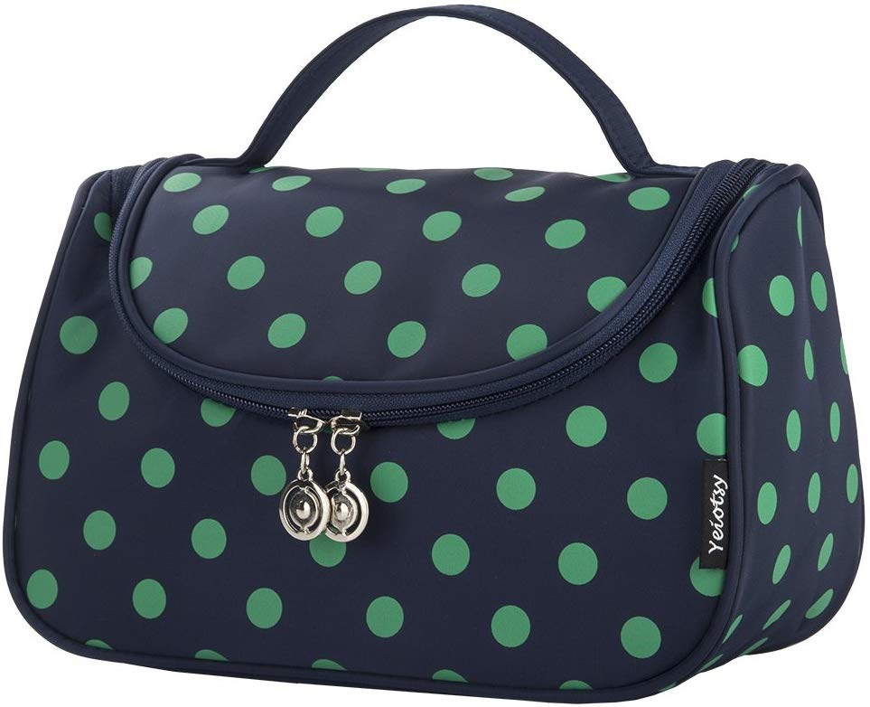 Makeup Bag Cute, Yeiotsy Polka Dots Toiletry Organizer Withe Make up Brush Holders for Women (Lake Blue) Navy Blue - iBuy Africa