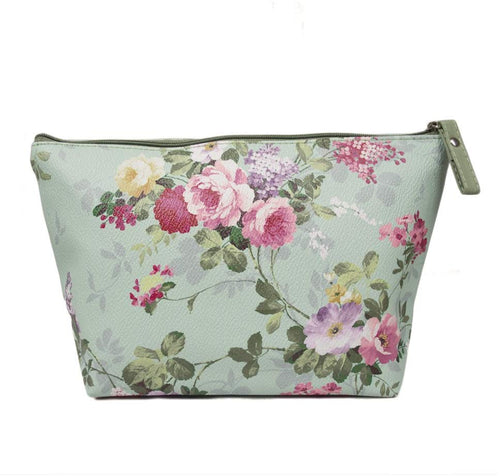 TaylorHe Make-up Bag Cosmetic Case Toiletry Bag Printed PVC zipped top Classic Vintage Roses on Green Roses - iBuy Africa
