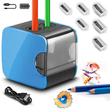 Load image into Gallery viewer, Electric Pencil Sharpeners, Battery & USB Powered, QHUI Heavy Duty 2 Holes Automatic Pencil Sharpeners for Kids, Perfect for No. 2 Pencils and Colored Pencils Use at Home, Classroom and Office - iBuy Africa