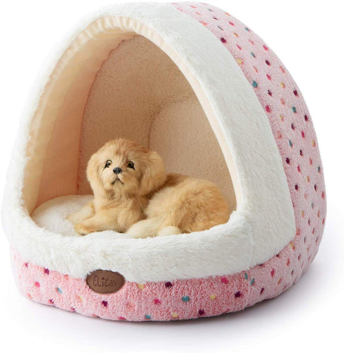 Tofern Colorful Dots Patterns Striped Cute Pet Fleece Bed Puppy Small Medium Dog Cat Sleeping Igloo House Non-Slip Warm Washable (Green-Bohemia) Pink Dots - iBuy Africa
