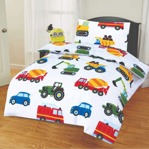 SleepyNights Junior Cot Bed Duvet Cover and Pillow Set Cars at Work - iBuy Africa