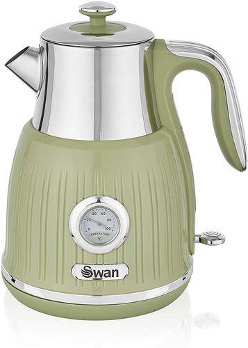 Swan Retro Kettle with Temperature Dial, 360 Degree Rotational Base, 3000 W, 1.5 litres Green - iBuy Africa