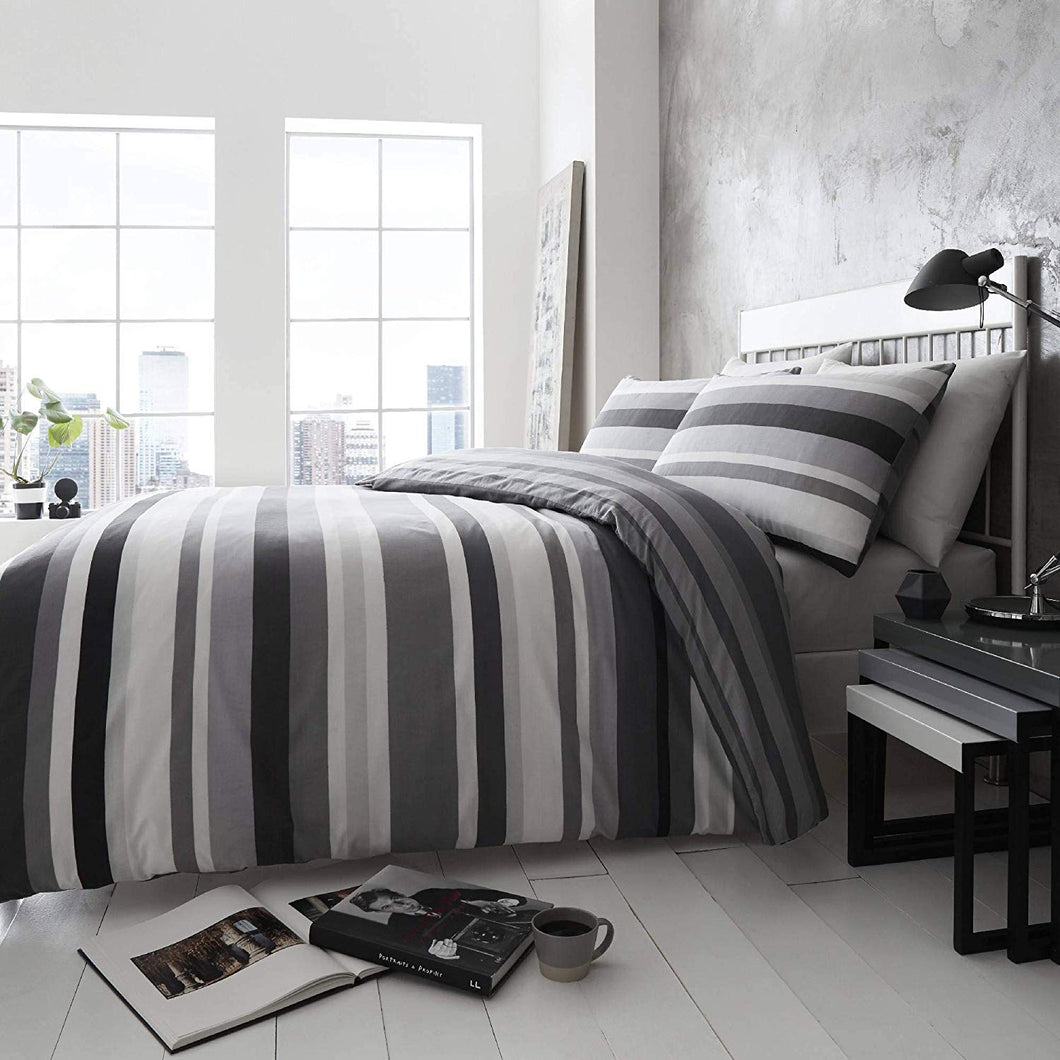 Happy Linen Company Simply Stripes Black Charcoal Grey White Reversible Duvet Cover Bedding Set - iBuy Africa