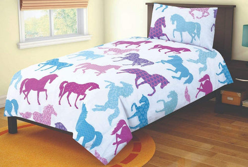SleepyNights Junior Cot Bed Duvet Cover and Pillow Set Horse - iBuy Africa