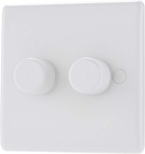 BG Electrical Single Round Push Button Dimmer Light Switch, White Moulded, Round Edge, 2-Way, 400 Watts - iBuy Africa