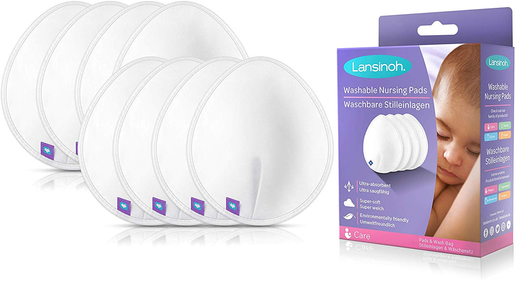 Lansinoh Washable Nursing Pads | Teardrop contoured Bamboo viscose pad | Reusable breast pads for every day and night use for Breastfeeding Mums Pack of 8 - iBuy Africa