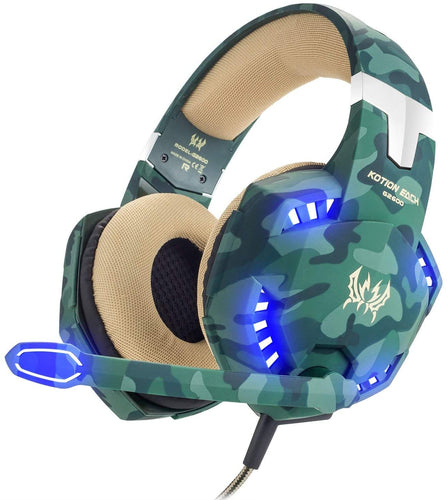 VersionTECH. Gaming headset for PS4 Xbox One X S PC Headphones with Microphone USB LED Light Noise Cancellation Mic Compatible with Nintendo Switch Controller Games Gamer Accessories Mac(Camouflage) Camo - iBuy Africa