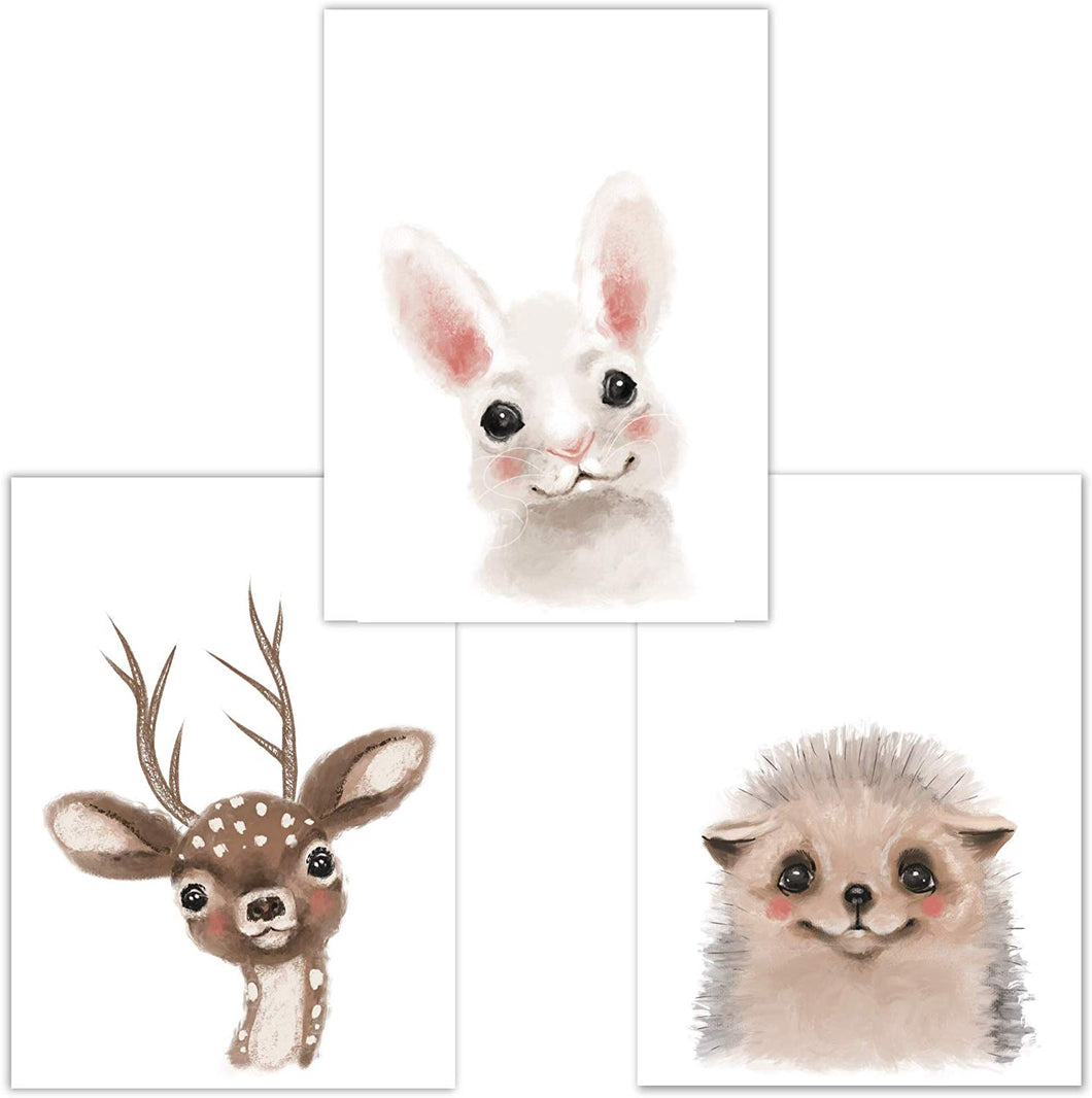 Little Fairy Tales Woodland Animals Wall Art Set of 3 DINA4, Nursery Decor, Kids Bedroom Accessories, Boys, Girls (Raccoon, Deer, Badger) Deer, Rabbit, Hedgehog - iBuy Africa