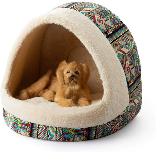 Tofern Colorful Dots Patterns Striped Cute Pet Fleece Bed Puppy Small Medium Dog Cat Sleeping Igloo House Non-Slip Warm Washable (Green-Bohemia) Green-Bohemia - iBuy Africa