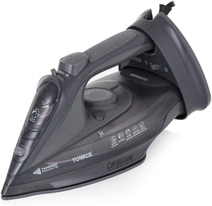 Tower CeraGlide 2-in-1 Cord or Cordless Steam Iron with Non-Stick Ceramic Soleplate, 160g Steam Boost Grey - iBuy Africa