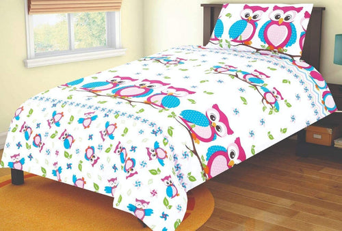 SleepyNights Junior Cot Bed Duvet Cover and Pillow Set Pink Owls - iBuy Africa