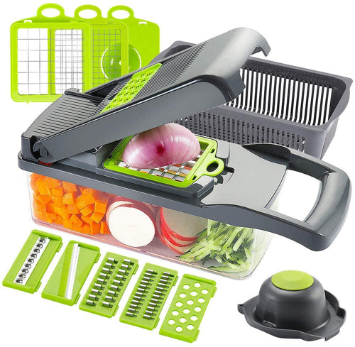 Ourokhome Vegetable Chopper Slicer Dicer - 12-in-1 Fruits Cutter Mandoline Slicer Food Chopper/Cutter with 7 Stainless Steel Blades, Adjustable Slicer & Dicer with Storage Container Grey-green - iBuy Africa