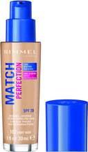 Load image into Gallery viewer, Rimmel London Match Perfection Liquid Foundation, Hydrated And Radiant glowing Effect With Smart-Tone Technology And Spf 20 Formula, 90 Porcelain - iBuy Africa