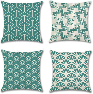 Artscope Mordern Simple Geometric Style Cushion Cover 45 x 45 cm Square Pillowcase Teal - iBuy Africa