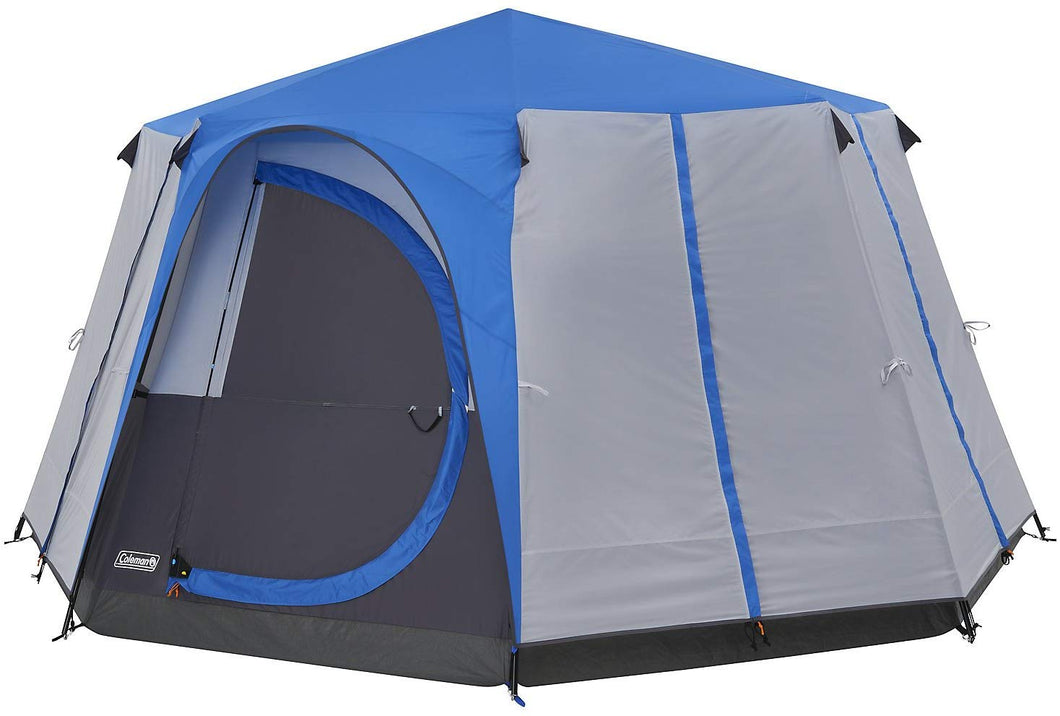 Coleman Tent Octagon, 6 to 8 Man Festival Dome Tent, Waterproof Family Camping Tent with Sewn-in Groundsheet Blue/Grey - iBuy Africa