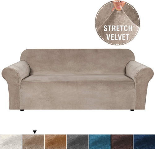 Real Velvet Plush Sofa Cover, Couch Covers for 3 Cushion Couch, Soft Rich Velvet Couch Covers for Sofa, Couch Cover, Sofa Covers for Living Room, Sofa Slipcover (Sofa:Taupe) - iBuy Africa