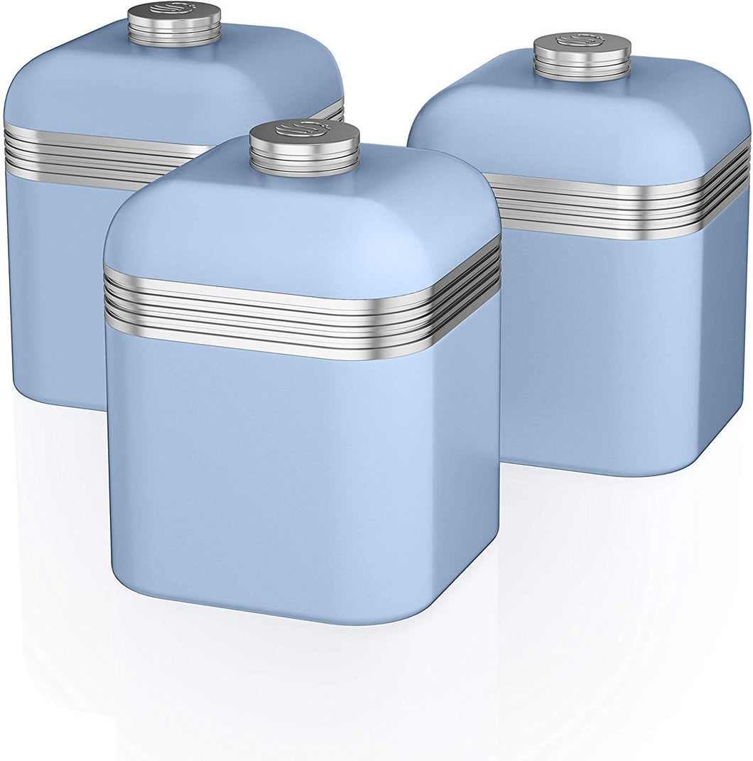 Swan Retro Kitchen Storage Canisters, Iron, Green, Set of 3 Blue - iBuy Africa