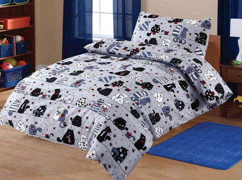 SleepyNights Junior Cot Bed Duvet Cover and Pillow Set Cool Cats - iBuy Africa