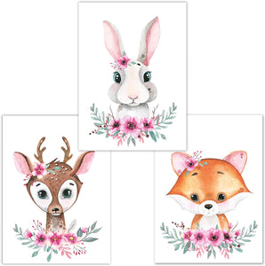 Little Fairy Tales Woodland Animals Wall Art Set of 3 DINA4, Nursery Decor, Kids Bedroom Accessories, Boys, Girls (Raccoon, Deer, Badger) Deer, Rabbit, Fox - iBuy Africa