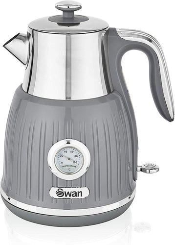 Swan Retro Kettle with Temperature Dial, 360 Degree Rotational Base, 3000 W, 1.5 litres Grey - iBuy Africa