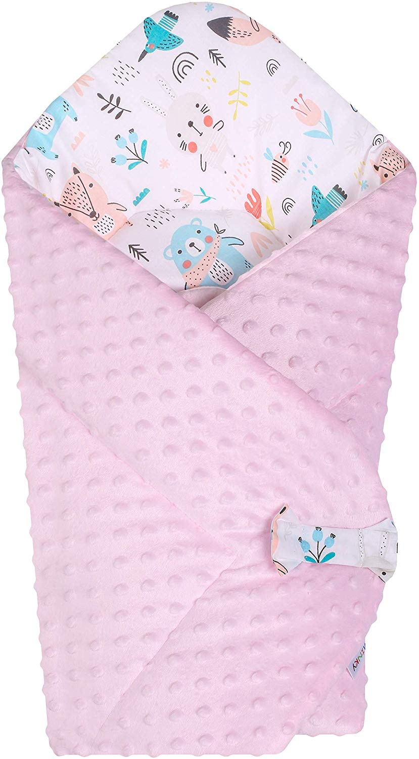 BlueberryShop Minky Fleece Baby Swaddle Wrap Bedding Blanket | Two-Sided Sleeping Bag for Newborns | Intended for Kids Aged 0-3 Months | Perfect as a Baby Shower Gift | 75 x 80 cm | Pink-White - iBuy Africa
