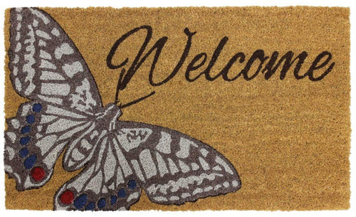 Garden Themed Latex Backed Natural Coir Entrance Door Mat Butterfly - iBuy Africa