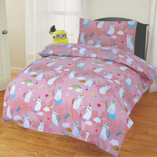 SleepyNights Junior Cot Bed Duvet Cover and Pillow Set Kitty Unicorn - iBuy Africa