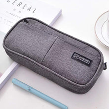 Load image into Gallery viewer, Maomaoyu Large Capacity Pencil Case for Boys and Girls, Zippered Triple Pocket Lightweight Waterproof Canvas Pencil Cases, Navy Blue - iBuy Africa