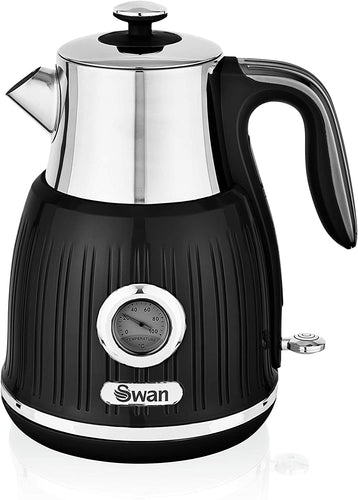 Swan Retro Kettle with Temperature Dial, 360 Degree Rotational Base, 3000 W, 1.5 litres Black - iBuy Africa