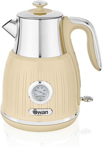 Swan Retro Kettle with Temperature Dial, 360 Degree Rotational Base, 3000 W, 1.5 litres Cream - iBuy Africa