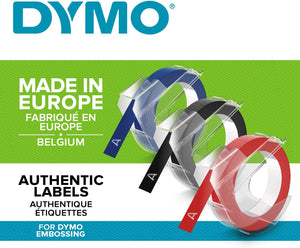 Dymo Embossing Tape Self-Adhesive, 9 mm x 3 m, Assorted Colour, Pack of 3 - iBuy Africa