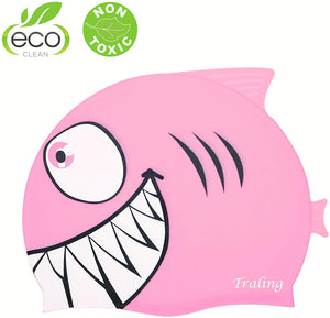 Swimming Cap Kids, Silicone Swim Hat Animal Fish Shaped for Children Boys Girls Age Less Than 10 Shark Pink - iBuy Africa