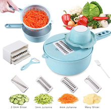 Load image into Gallery viewer, Adjustable Vegetable Slicer 12 in 1 Mandoline Slicer Multi-function Food Cutter with 4 Interchangeable Stainless Steel Blades with Egg Yolk Separator Colander Vegetable Choppers - iBuy Africa