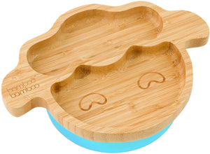 Baby Toddler Little Lamb Suction Plate, Stay Put Feeding Plate, Natural Bamboo (Cherry) - iBuy Africa
