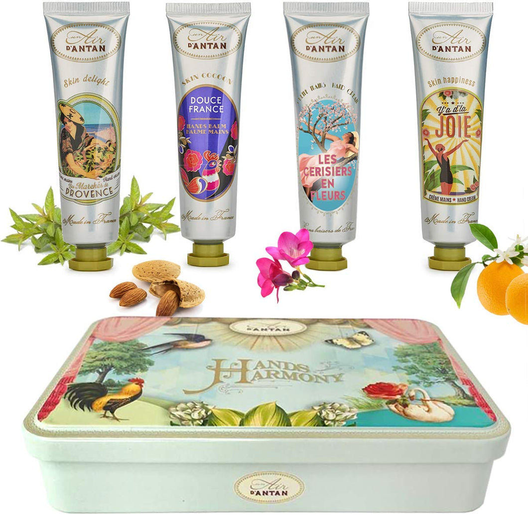 Gifts For Women: 4 Hand Cream Gift Set/Shea Butter, Aloe Vera/Lovely Tin Box/by Un Air d'Antan®/ 4 Perfume: Verbena, Cherry Blossom, Floral Blend, Almond/Gift Sets/Gifts For Mum/Friendship Gifts 1. Classic Mix - iBuy Africa