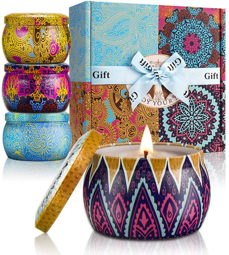 YMing Scented Candles Lavender, Lemon, Mediterranean Fig, Fresh Spring,Natural Soy Wax Portable Travel Tin Candle,Set Gift of 4 1 - Classic - iBuy Africa