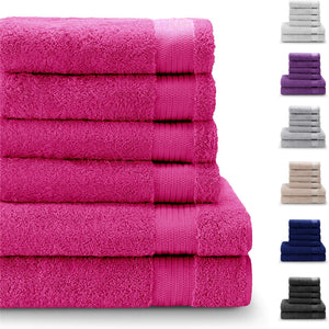 Chemical-Free, 100% Cotton Towel Sets (6 Pieces, Violet) - 4 Hand Towels (50x80cm) and 2 Bath Sheets (140x70cm) - Super Soft and Absorbent - Machine Washable - Bathroom, Pool - iBuy Africa